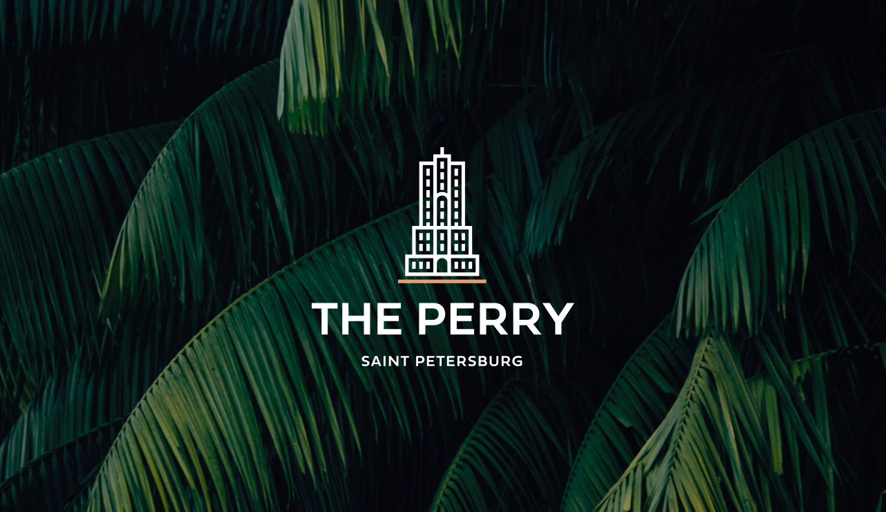 Branding for The Perry—a luxury residential tower concept.